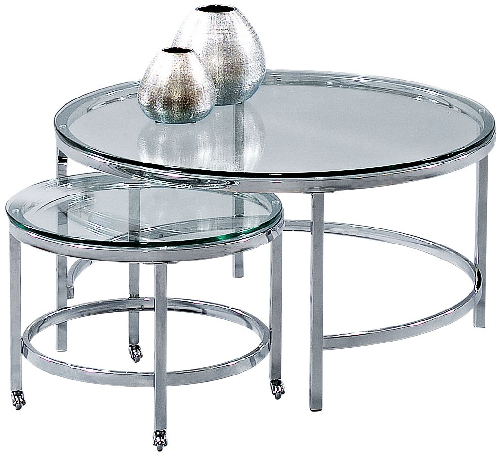 Patinoire Chrome And Glass Top Nesting Round Cocktail Table