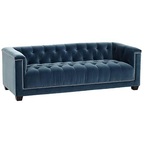 """Preston Light 84"""" Wide Blue Velvet Sofa"""