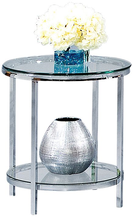 Beautiful Patinoire Polished Chrome And Glass Round End Table