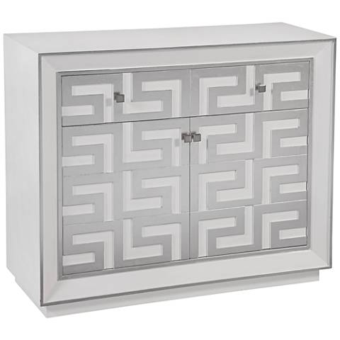 "Loria Greek Key 40"" Wide Silver Leaf Finish Wine Cabinet"