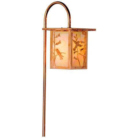 Hummingbird Lantern Curved Arm Old Penny LED Path Light