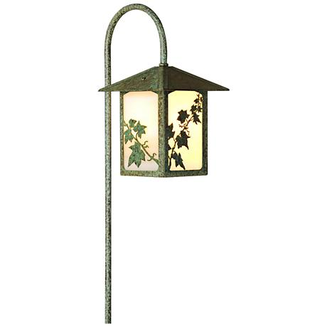 English Ivy Lantern Curved Arm Bronze Patina LED Path Light