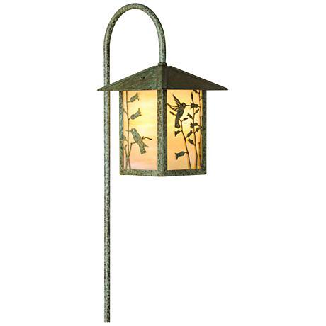 Hummingbird Lantern Curved Arm Bronze Patina LED Path Light