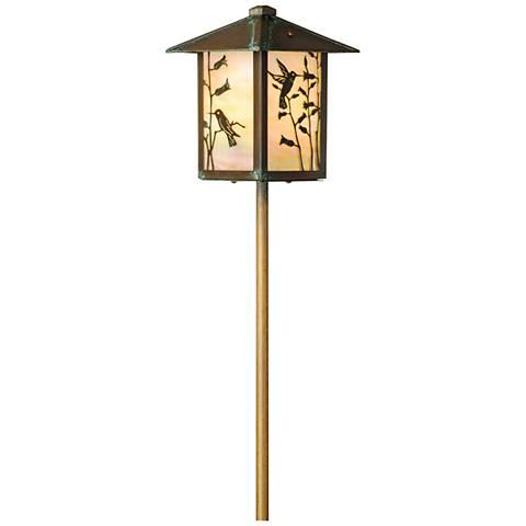 Hummingbird Lantern New Verde Gold Glass LED Path Light
