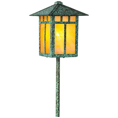 Craftsman Lantern Bottom Arm Bronze Patina LED Path Light
