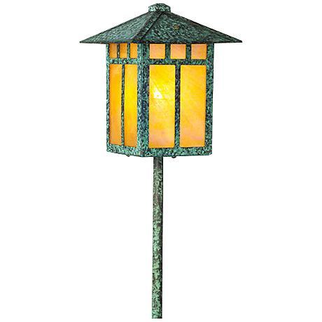 Craftsman Lantern Bottom Arm Bronze Patina LED Path Light