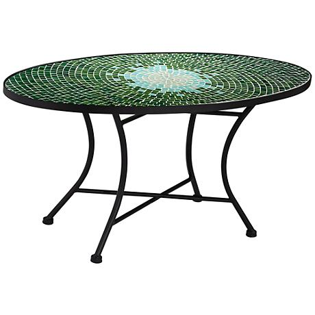 Century Green Mosaic Oval Outdoor Coffee Table