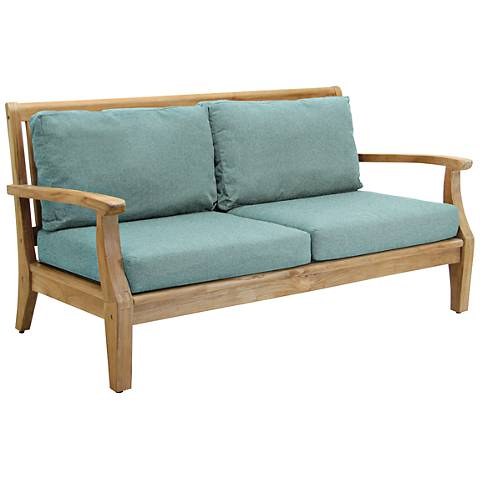 Woodbury Spa Canvas Natural Teak Wood Outdoor Loveseat