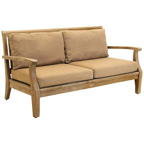 Woodbury Heather Beige Natural Teak Wood Outdoor Loveseat