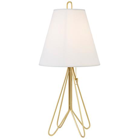 lights up flight gold table lamp with white linen shade. Black Bedroom Furniture Sets. Home Design Ideas