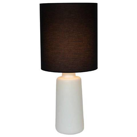 Circa White Ceramic Table Lamp with Black Silk Shade