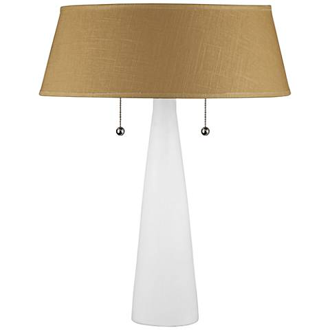 Lizzie White Ceramic Table Lamp with Dijon Tweed Shade