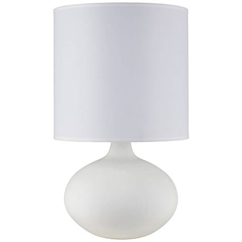 Pops Bisque Ceramic Accent Table Lamp with White Linen Shade