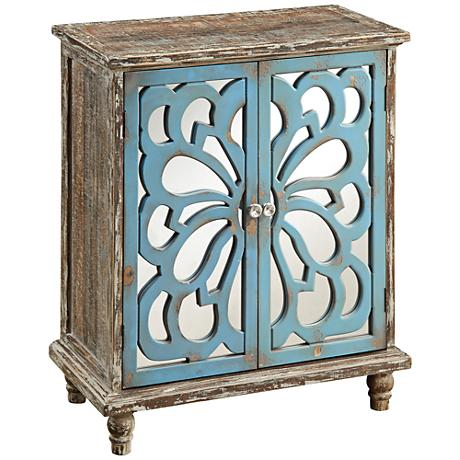 Kirksville Delvale Brown and Blue 2-Door Accent Cabinet