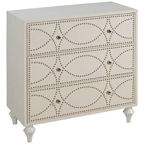 Garza Keene White with Silver 3-Drawer Accent Chest