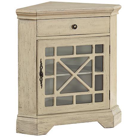 St. Rosa Milstone Textured Ivory 1-Door Corner Cabinet