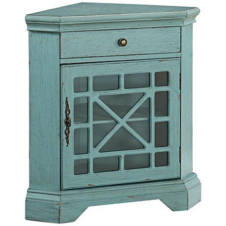 St. Rosa Bayberry Blue 1-Door Corner Cabinet