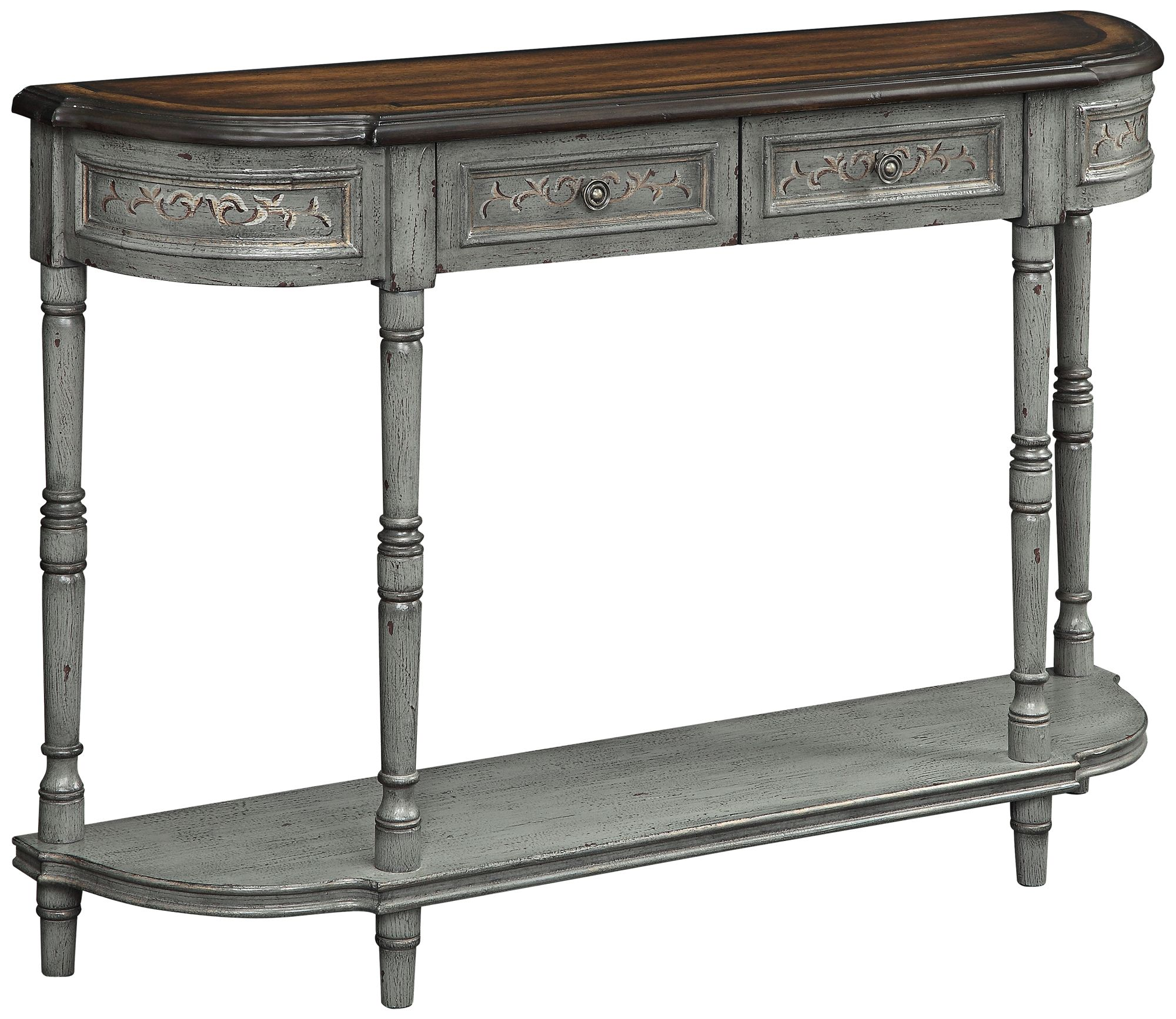marienville markham gray and brown 2drawer console table