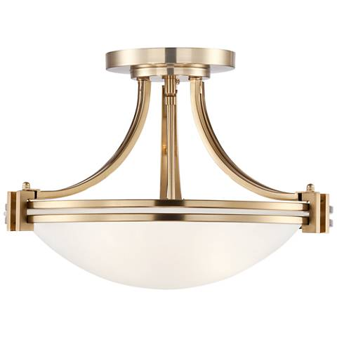 "Possini Euro Deco 16"" Wide Warm Brass Ceiling Light"