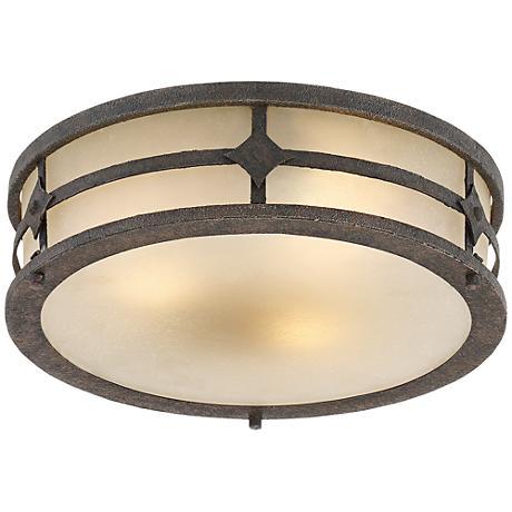 """Corden 14 1/4"""" Wide Bronze Amber Glass Outdoor Ceiling Light"""