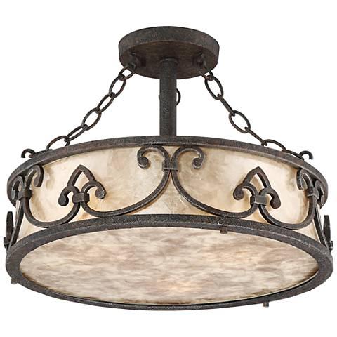 """Arba 16"""" Wide Bronze Mica Drum Ceiling Light"""