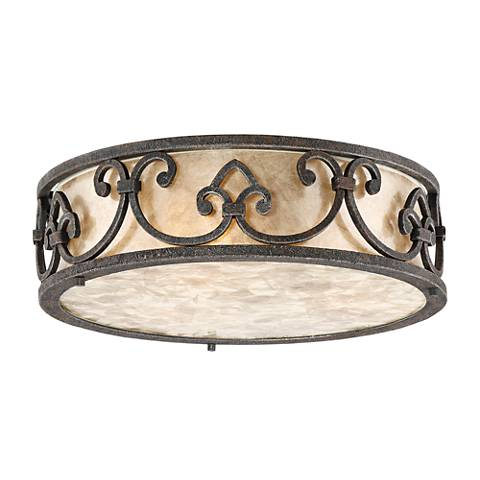 "Arba 14"" Wide Bronze Mica Drum Ceiling Light"