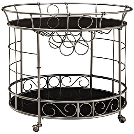 Aubrey Oval Metal and Glass Serving Cart