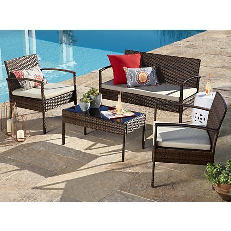 Rexford Outdoor Wicker Beige Cushion 4-Piece Patio Set