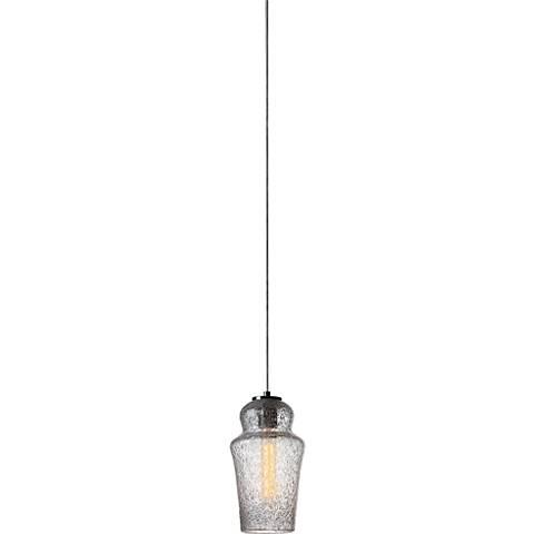 """La Hambra Clear Seeded Glass 6"""" Wide Mini Pendant"""