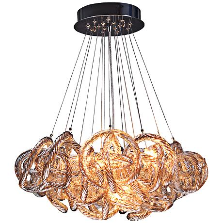 """Infinity 18"""" Wide Champagne Glass 5-Light  Pendant"""