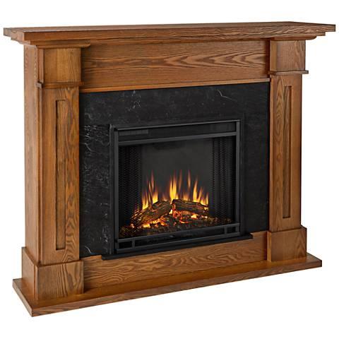 Real Flame Kipling Wood Mantel Medium Oak Gel Fireplace