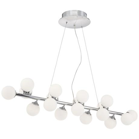 """Villani Chrome 41"""" Wide Frosted Glass LED Island Chandelier"""