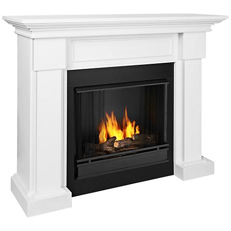 Real Flame Hillcrest Wood Mantel White Gel Fireplace