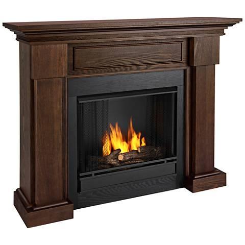 Real Flame Hillcrest Wood Mantel Dark Oak Gel Fireplace