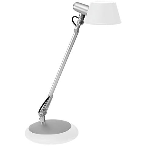 Luce Silver Metal LED Desk Lamp with White Shade