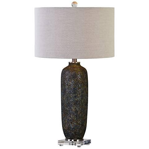 Uttermost Yohon Textured Rust Black Ceramic Table Lamp