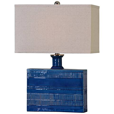 Uttermost Piota Textured Distressed Blue Ceramic Table Lamp
