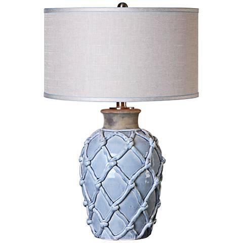 Uttermost Parterre Hammock Pale Blue Ceramic Table Lamp