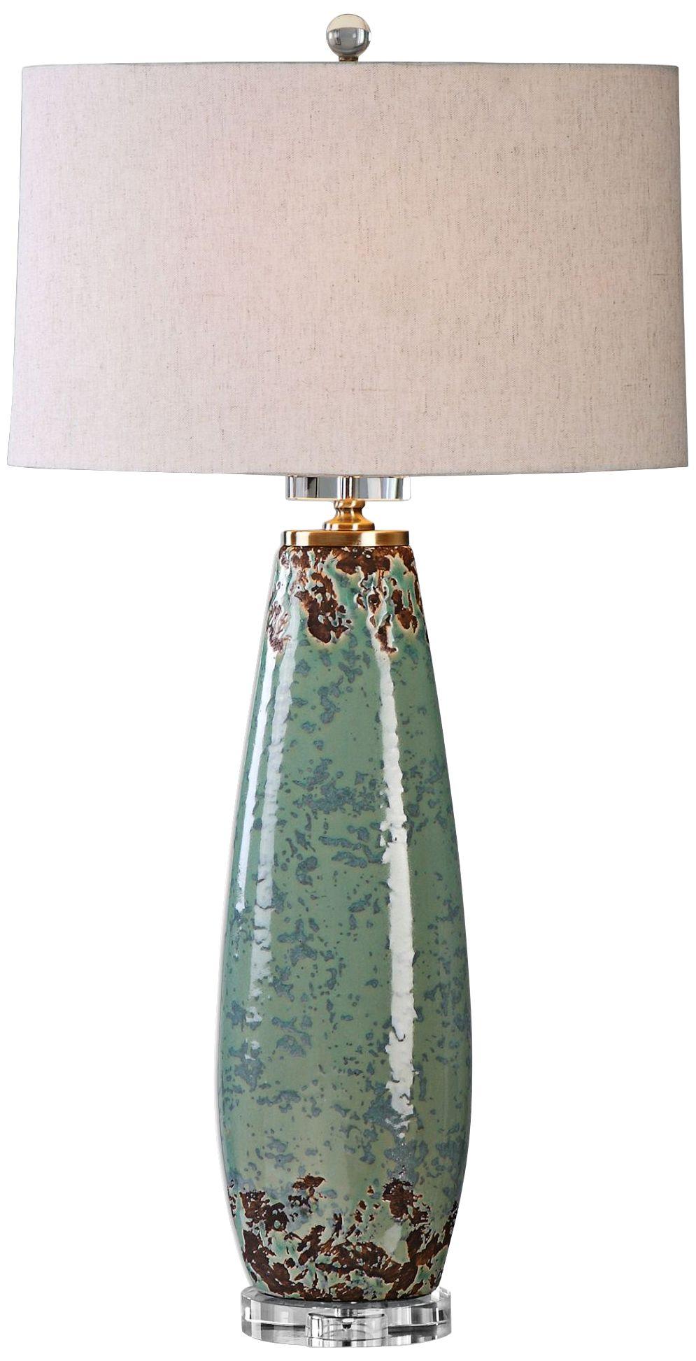 uttermost rovasenda pale mint green ceramic table lamp