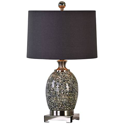 Uttermost Madon Crackled Taupe Gray Glass Table Lamp