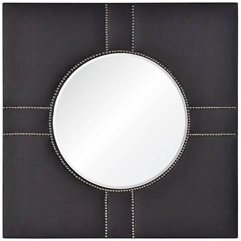 """Cooper Classics Sansa Gray Fabric 42"""" Square Wall Mirror"""