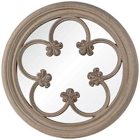 "Cooper Classics Ula Distressed 31"" Round Wall Mirror"