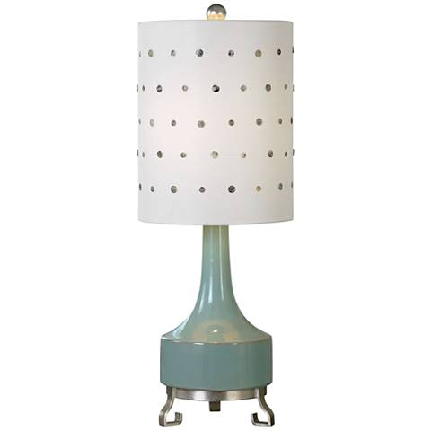 Uttermost Cayucos Green Ceramic Lamp with Capiz Button Shade