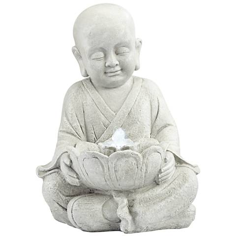 "Little Monk 16 3/4"" High Antique Stone Outdoor LED Fountain"