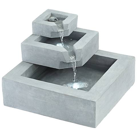 """Three Stairs 13""""H LED Gray Cement Outdoor Fountain"""