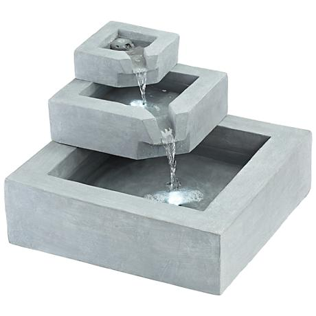 """Three Stairs 13"""" Wide LED Gray Cement Outdoor Fountain"""