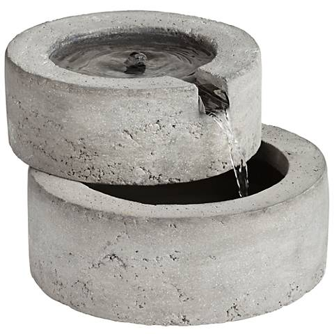 "Round Concrete Outdoor 11 1/2"" wideTabletop Fountain"