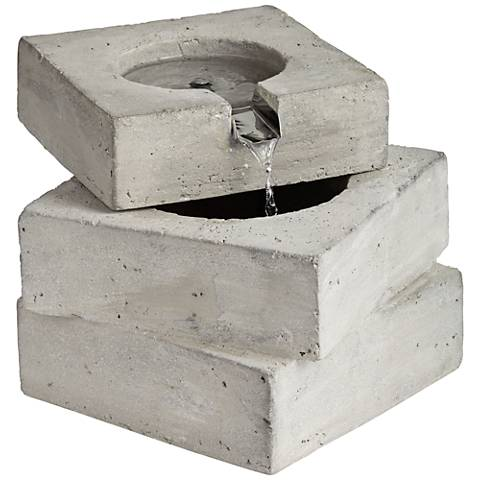 "Square Concrete Outdoor 9 1/4"" High Tabletop Fountain"