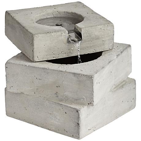 Square Concrete Outdoor Tabletop Fountain