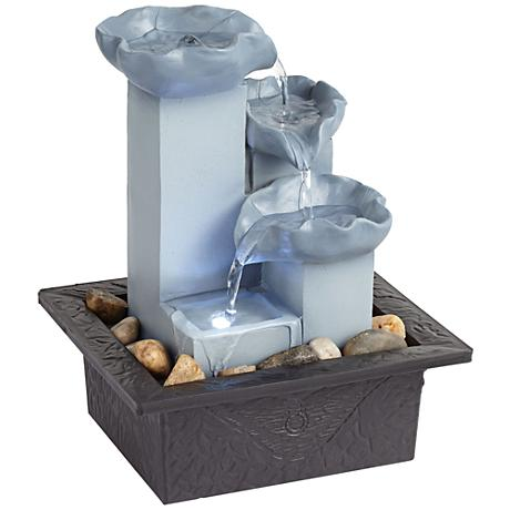 """Cool Blue Three Tier LED Zen 10"""" High Tabletop Fountain"""